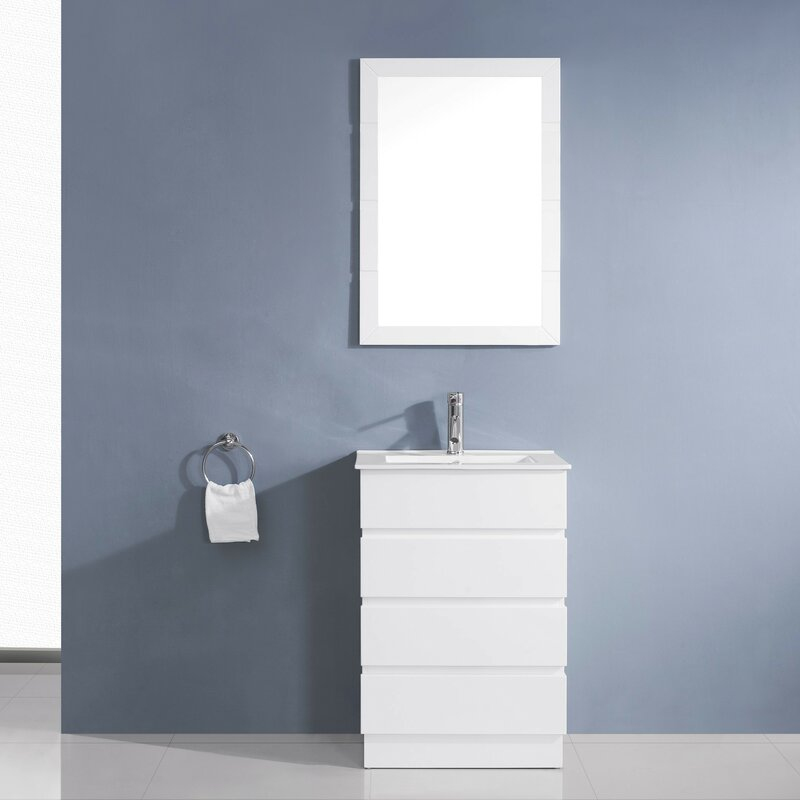 contemporary bathroom vanity. Bruno 24  Single Contemporary Bathroom Vanity Set with Ceramic Top and Mirror Virtu USA
