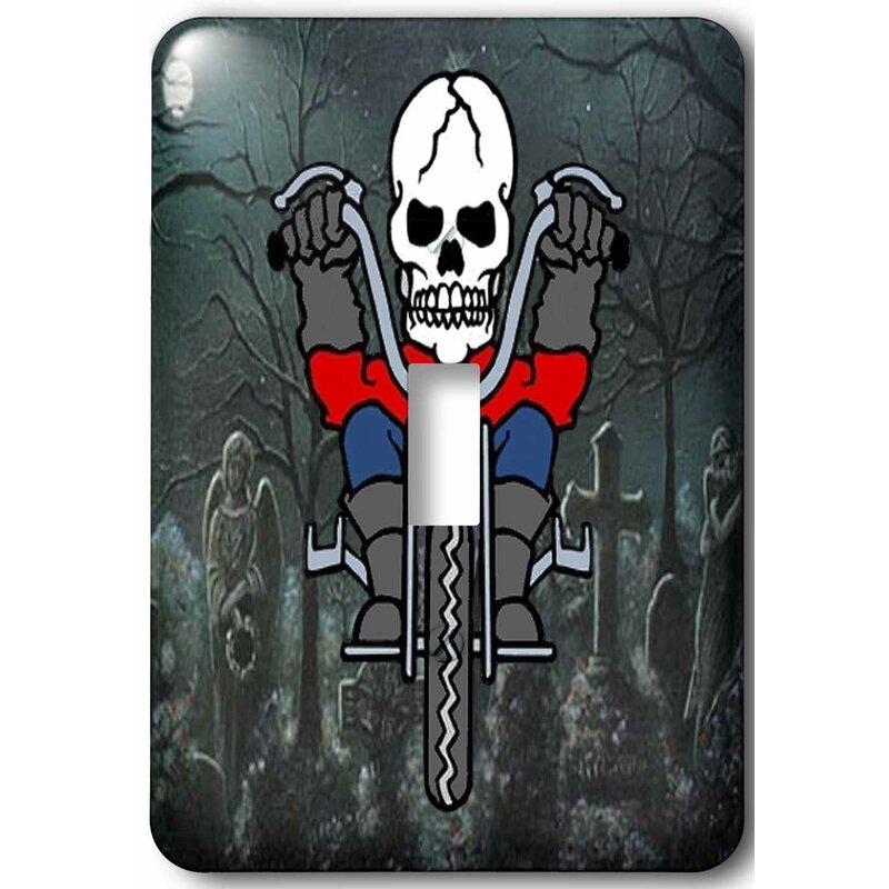 3drose Skeleton Riding A Motorcycle Through Graveyard 1 Gang Toggle Light Switch Wall Plate Wayfair