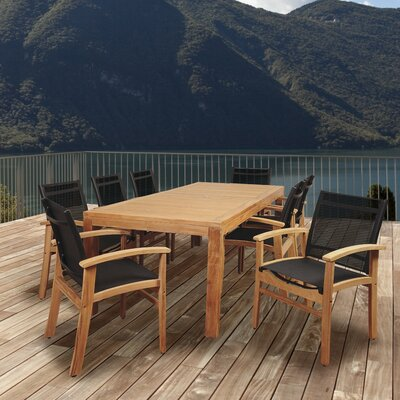 Medrano Terrace 9 Piece Teak Dining Set by Longshore Tides Savings