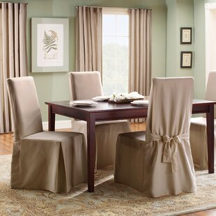Dining Room Chair Covers Brown cotton duck chair cover | wayfair