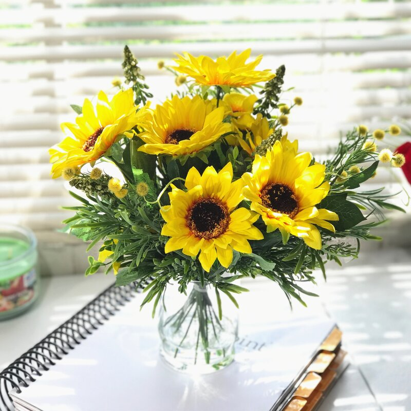 Fleur De Lis Living Silk Sunflowers Flower Arrangement In Vase Reviews Wayfair
