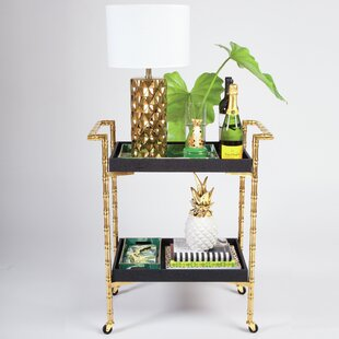 Everly Quinn Sierra Bamboo Bar Cart