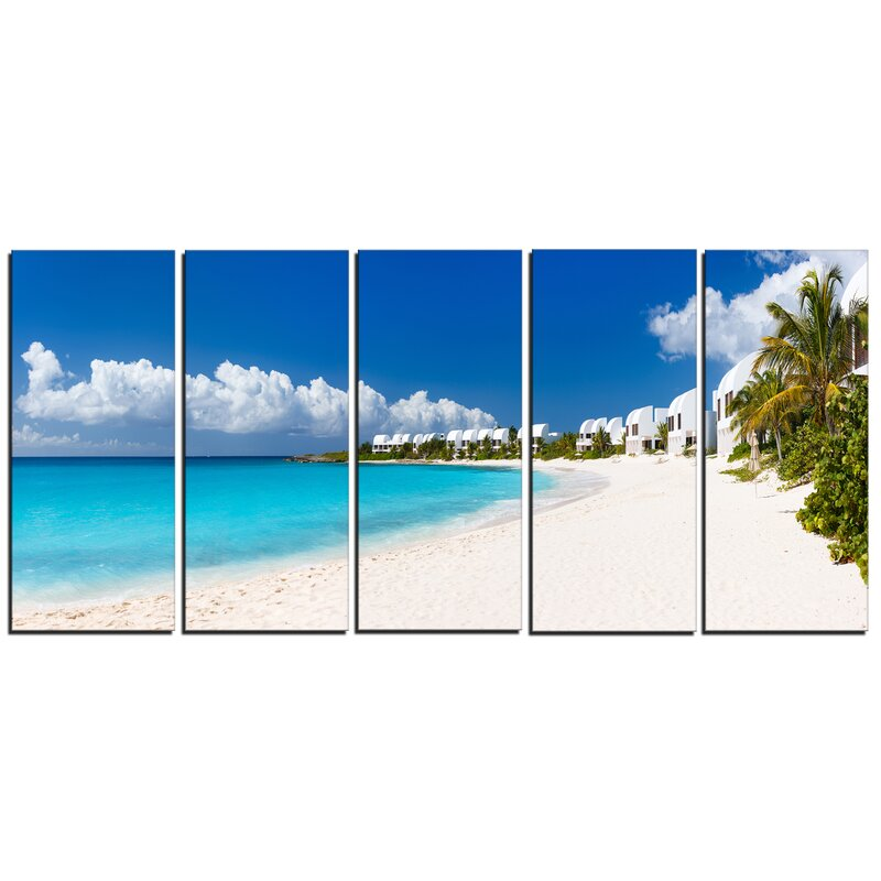 Designart Caribbean Beach Panorama Landscape 5 Piece Photographic Print On Wrapped Canvas Set Wayfair