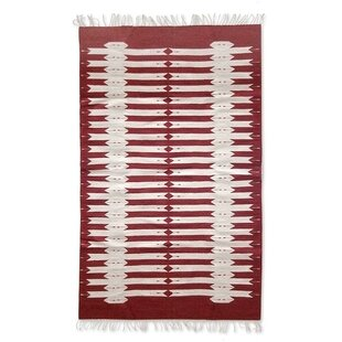 Best Deals Weare Hand-Loomed Red/White Area Rug By Millwood Pines