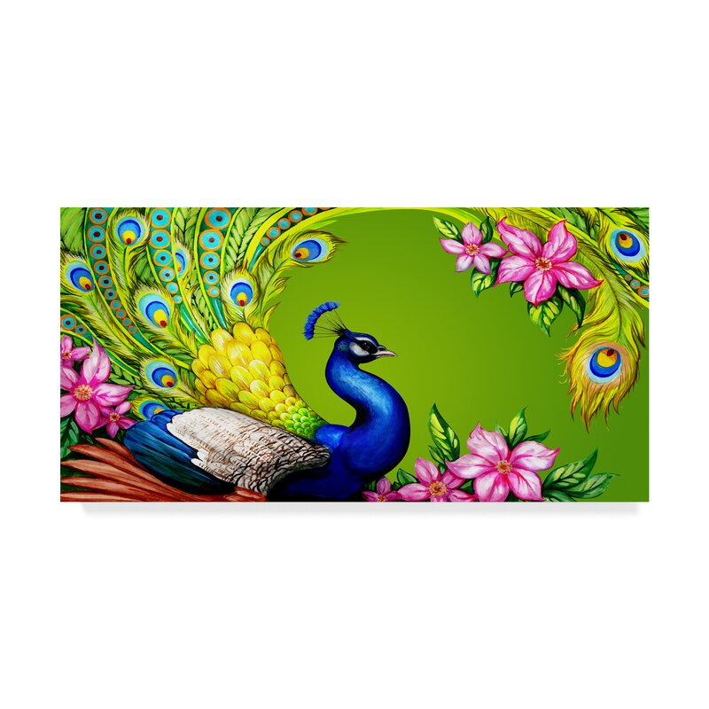 Trademark Art Gorgeous Peacock Graphic Art Print On Wrapped Canvas Reviews Wayfair