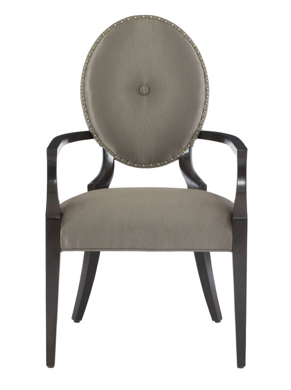 Bernhardt Jet Set Tufted Upholstered King Louis Back Arm Chair In Gray Perigold