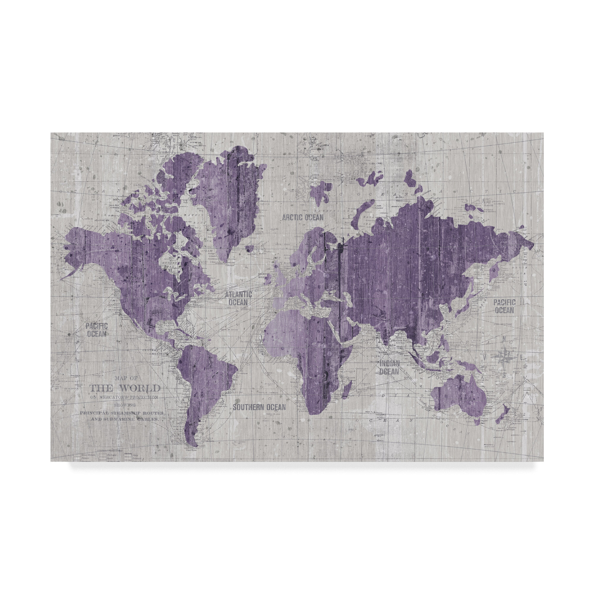 East Urban Home \'Old World Map Purple Gray\' Graphic Art Print on ...