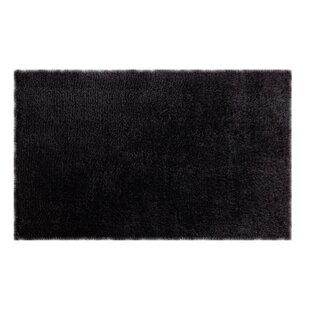 Reviews Headrick Hand-Woven Shag Black Area Rug ByWrought Studio