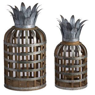 2 Piece Metal and Wood Lantern Set
