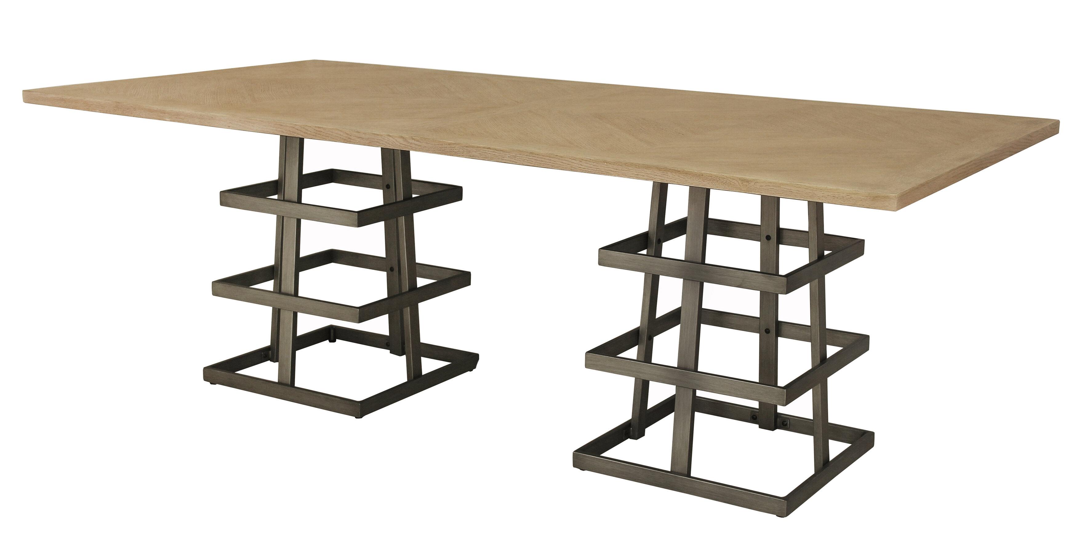 17 Stories Tulane Dual Pedestal Dining Table Reviews Wayfair