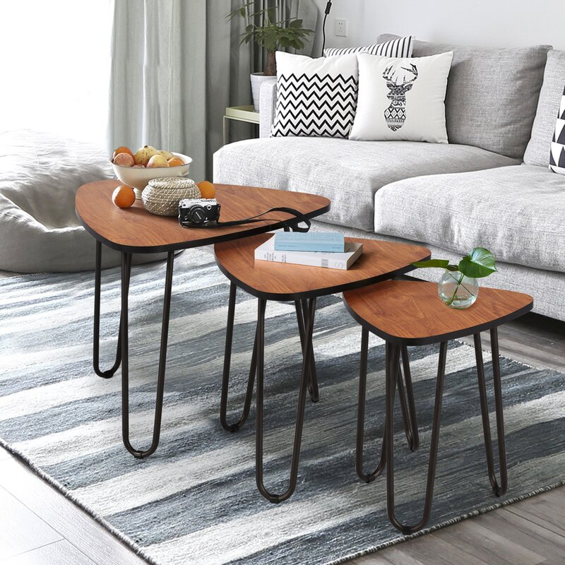 Union Rustic Nesting Coffee Tables Set Of 3 End Side Tables Modern Furniture Decor Table Sets Sturdy And Easy Assembly Accent Furniture In Home Office Reviews Wayfair