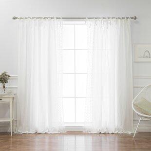 Montezuma Belgian Flax Linen Daisy Lace Border Solid Semi-Sheer Tab Top Curtain Panels (Set of 2) by Eider & Ivory