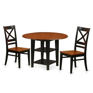 Tyshawn 3 Piece Drop Leaf Breakfast Nook Solid Wood Dining Set by Charlton Home Coupon