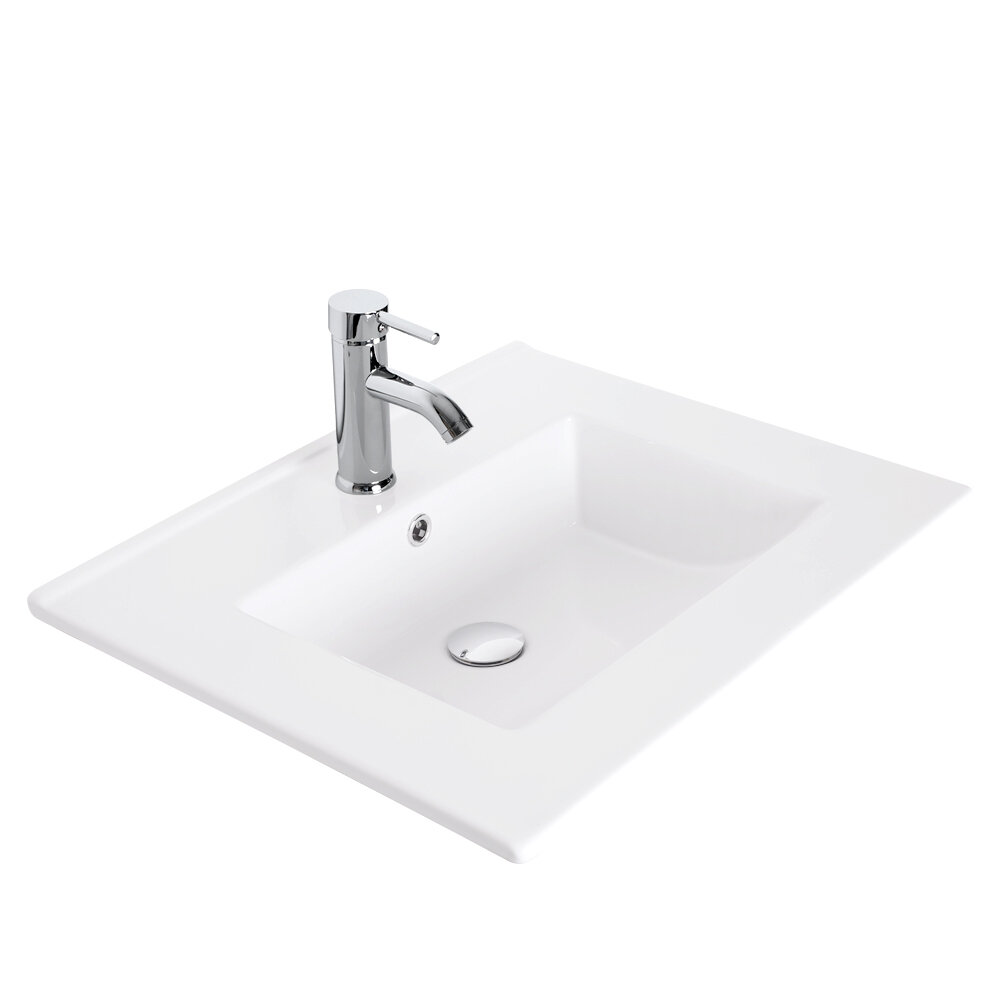 Eclife White Ceramic Rectangular Drop In Bathroom Sink With Faucet And Overflow Wayfair