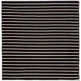 Ranier Pinstripe Hand-Woven Black Indoor/Outdoor Area Rug