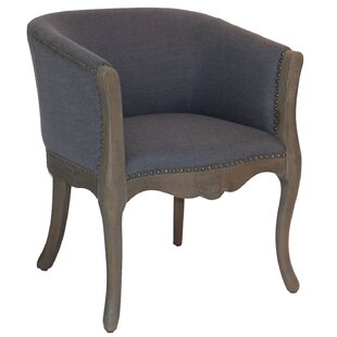 Bjorn Wood and Linen Upholstered Barrel Chair by Ophelia & Co.