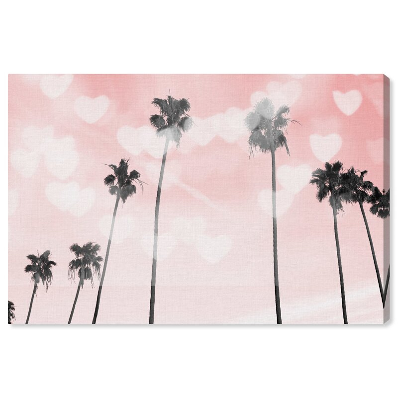 House Of Hampton Palm Trees Hearts And Blush Graphic Art On Canvas Wayfair
