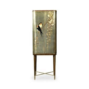 Curated Handpainted Birds on Foil Bar Cabinet