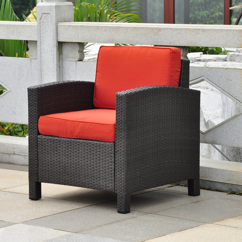 Katzer Wicker Resin Aluminum Contemporary Patio Chair with Cushion - Brayden Studio Katzer Wicker Resin Aluminum Contemporary Patio Chair
