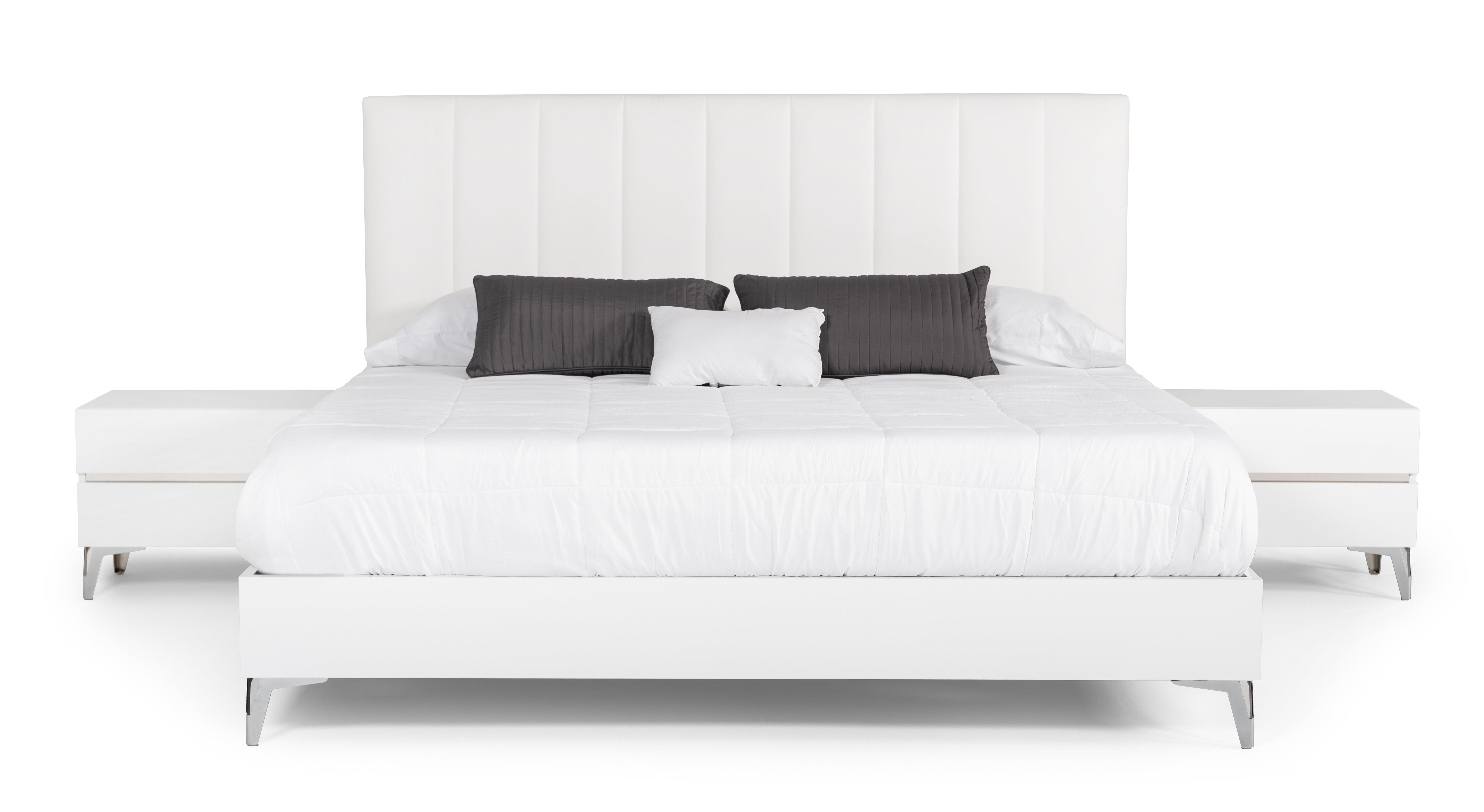 Orren Ellis Kayna Italian Modern White Eco Leather W Nightstand Platform 3 Piece Bedroom Set Wayfair