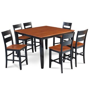 Charlestown 7 Piece Counter Height Solid Wood Dining Set Alcott Hill