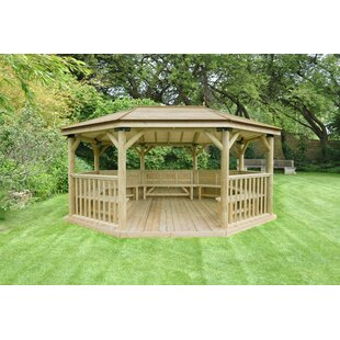 5.3m X 3.8m Wooden Gazebo With Timber Roof And Benches By Sol 72 Outdoor