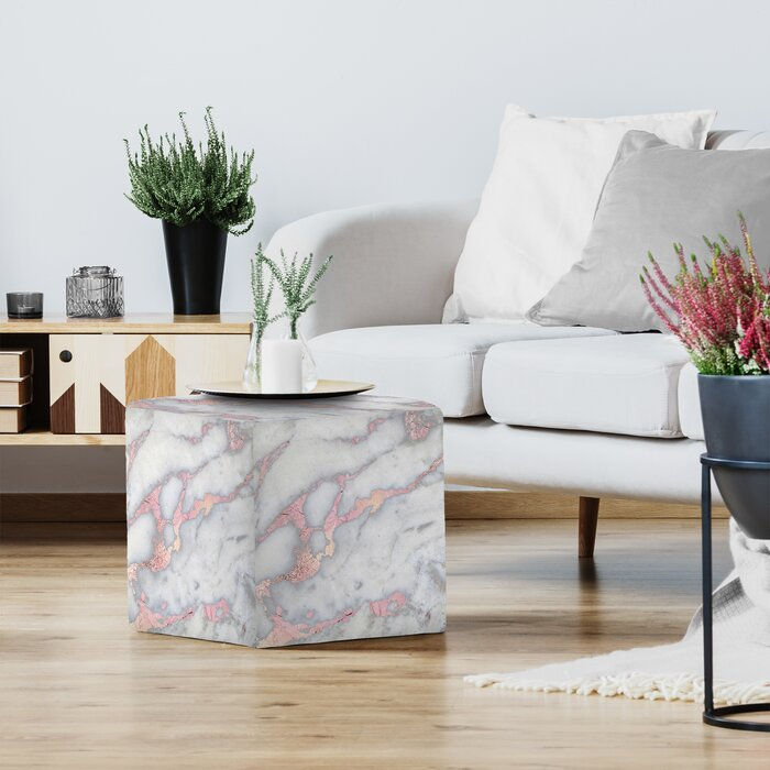 new concept 6a6e7 a24c7 Grab My Art Rose Gold Blush Metal Foil On Marble Square Standard Ottoman
