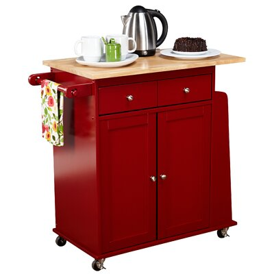 Ferraro Kitchen Cart with Wooden Top Base Finish: Red by Alcott Hill