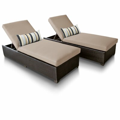 Classic Reclining Sun Lounger Set with Cushion TK Classics