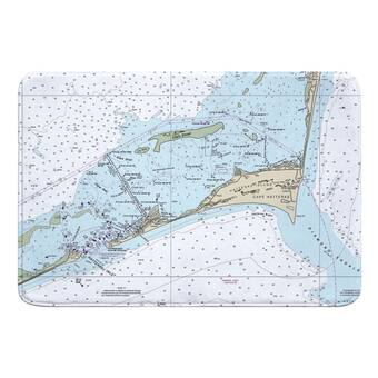 Breakwater Bay Nautical Chart Edenton Nc Rectangle Memory Foam Non Slip Bath Rug Wayfair