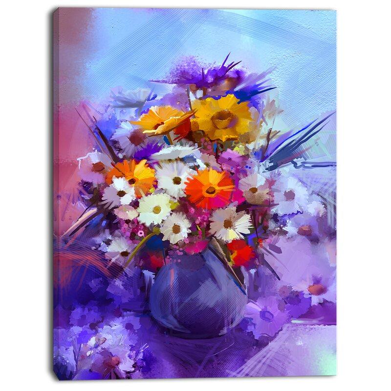 Designart Watercolor Flowers In Purple Vase Painting Print On