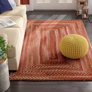 Holcombe Braided Wool Red/Green/Orange Area Rug by August Grove