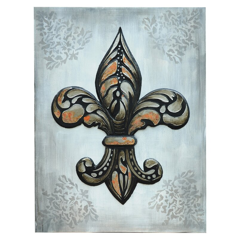 shabby chic distressed Fleur de lis Graphic Art on Canvas