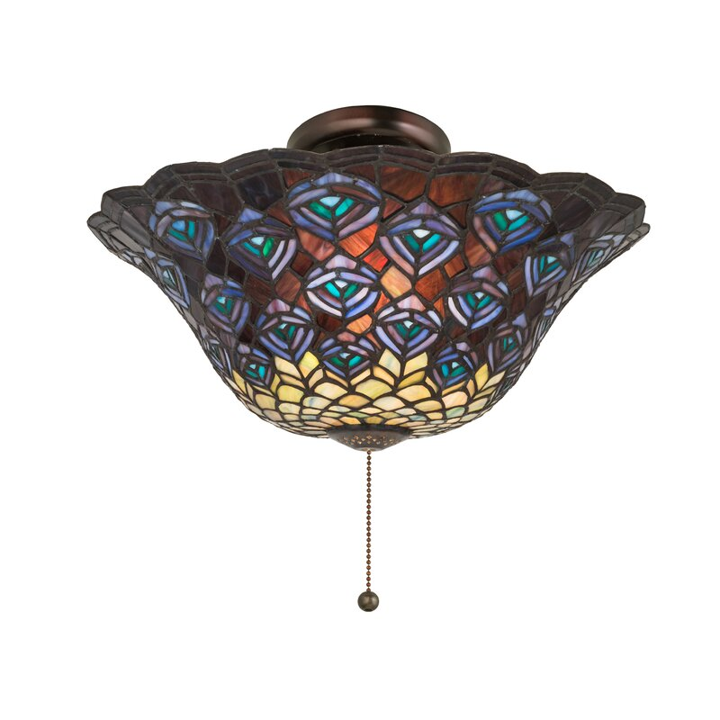 Meyda Tiffany Tiffany Peacock Feather Bowl Ceiling Fan