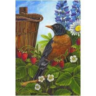 Robin And Wooden Bucket Garden Flag by The Cranford Group