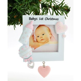 pink frame babys first ornament