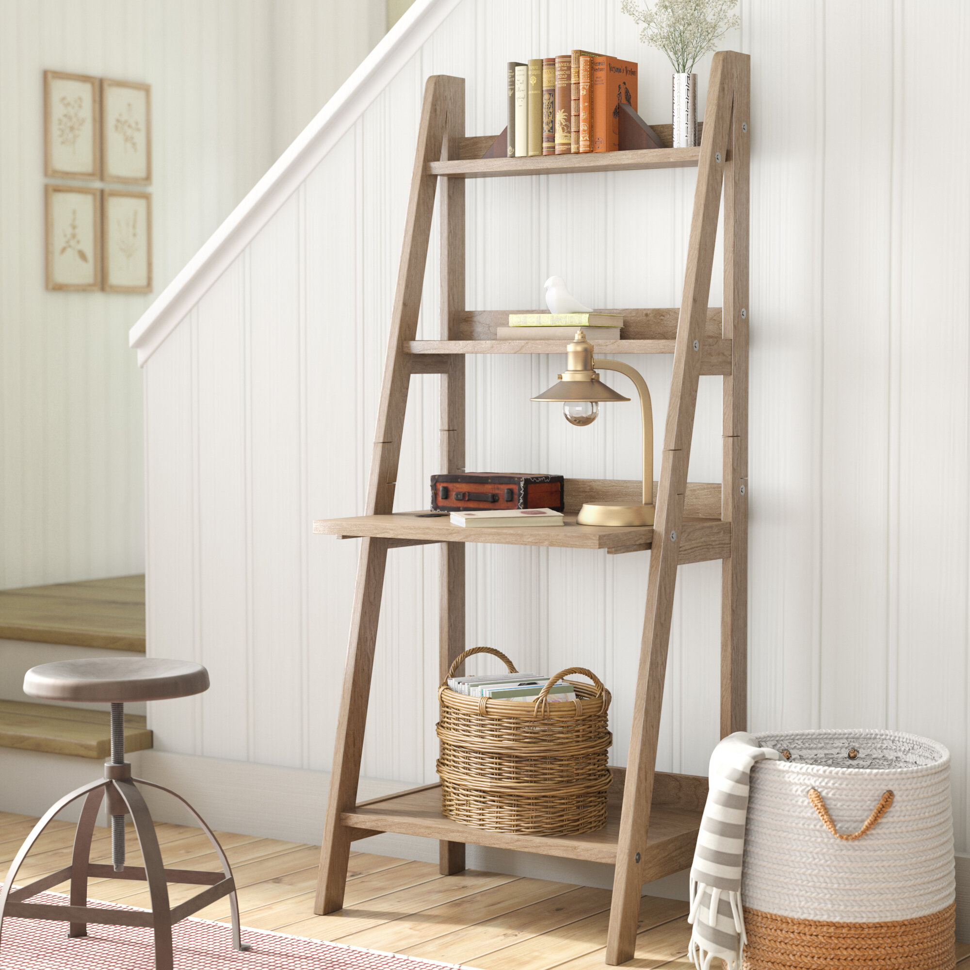 furniture real shelf inside with wood leaning regard ladder to drawer industrial bookshelf drawers ideas