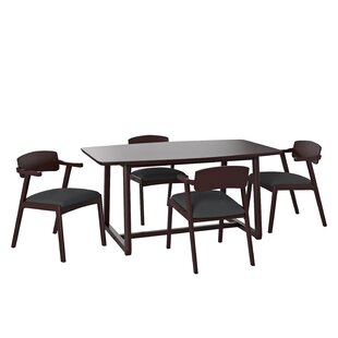 Millie 5  Piece Rubberwood Solid Wood Dining Set