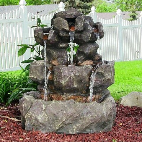 Gentil Resin Layered Rock Waterfall Outdoor Fountain With LED Light