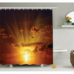 Nature Magical Burning Sunset Shower Curtain Set