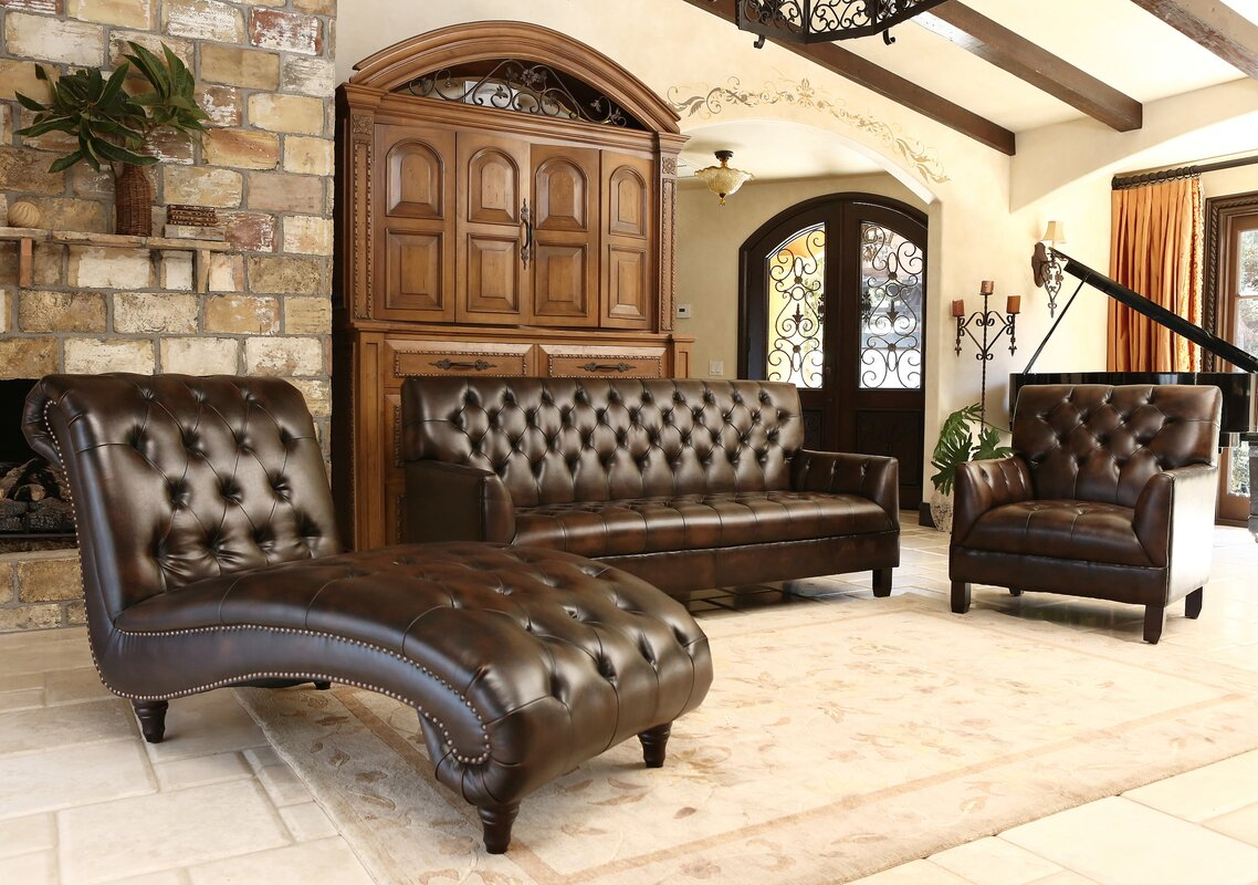 Straub 3 Piece Leather Living Room Set Reviews Birch Lane