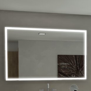 Compare prices Kristian Rectangle Illuminated Bathroom/Vanity Wall Mirror By Orren Ellis