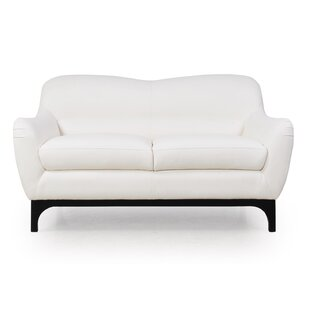 Brayden Studio Kasia Mid-Century Leather Loveseat