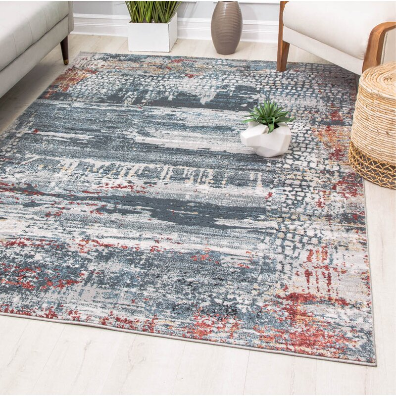 17 Stories Ketter Power Loom Gray Blue Rug Reviews Wayfair