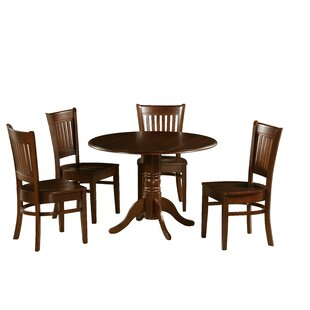 Tobias 5 Piece Drop Leaf Solid Wood Dining Set August Grove