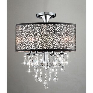 Mckeen Bubble Shade 4-Light Semi Flush Mount by House of Hampton