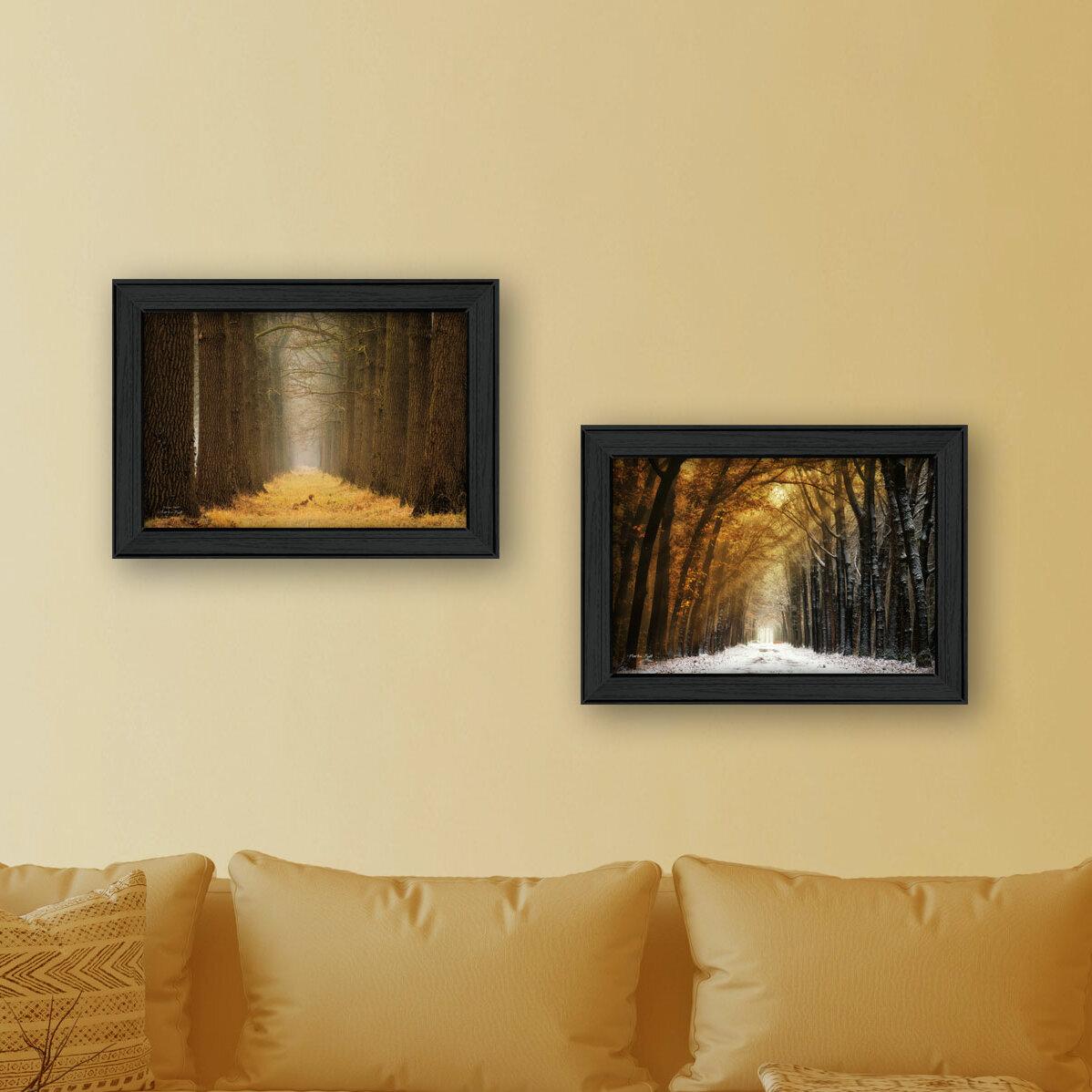 Trendy Decor 4U \'Golden Forest Path\' 2 Piece Framed Graphic Art ...