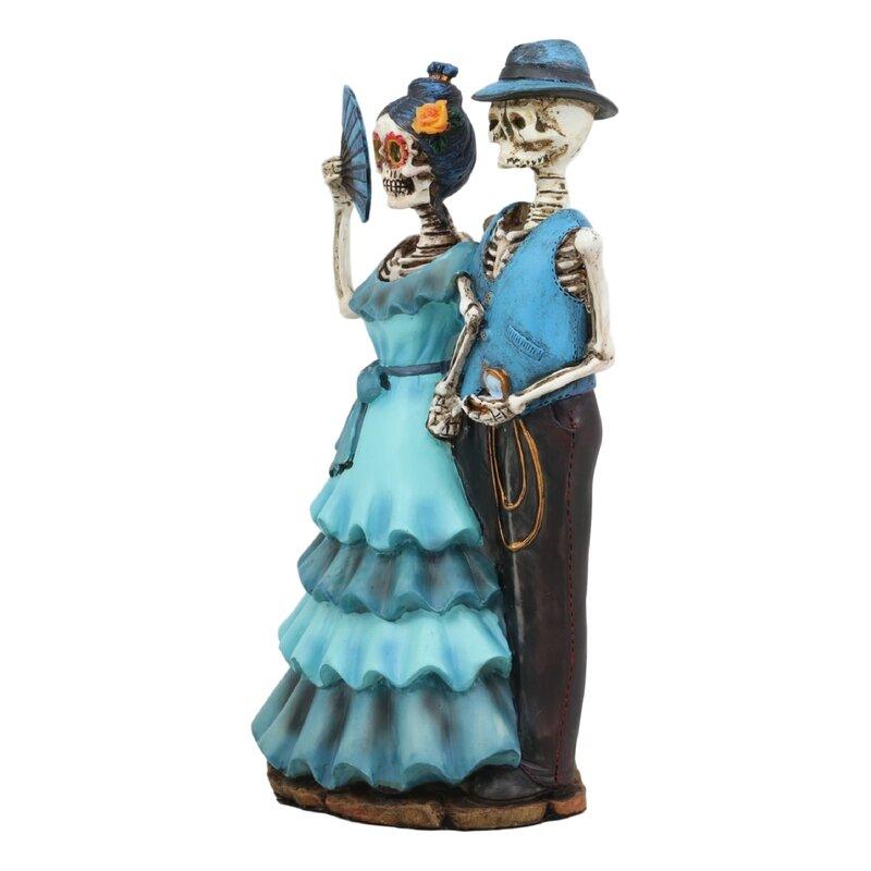 Romantic Skeleton Love Never Dies Groom Holding Bride Skull Wedding Figurine