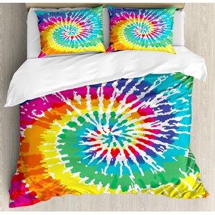 Tie Dye Digital Spiral Vortex Vibrant Rainbow Colored Sixties Ikat Psychedelic Pattern Duvet Cover Set