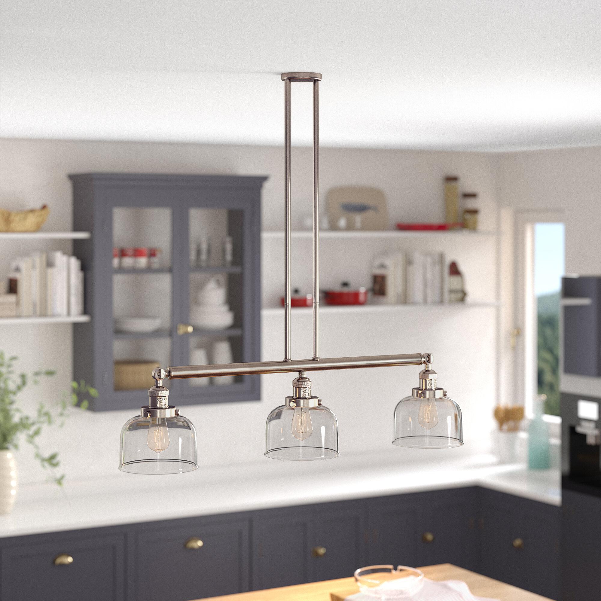 Longshore Tides Brassfield 3 Light Kitchen Island Linear Pendant Reviews Wayfair